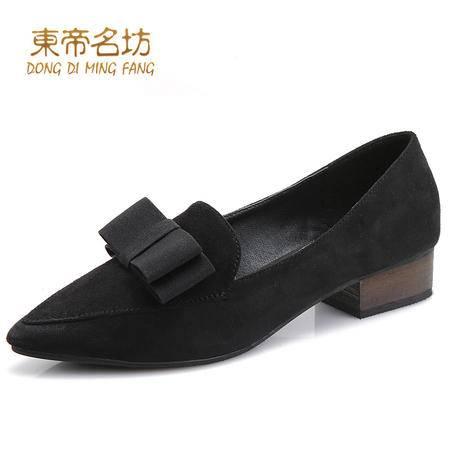 东帝名坊时尚尖头透气舒适休闲鞋蝴蝶结方根单鞋女