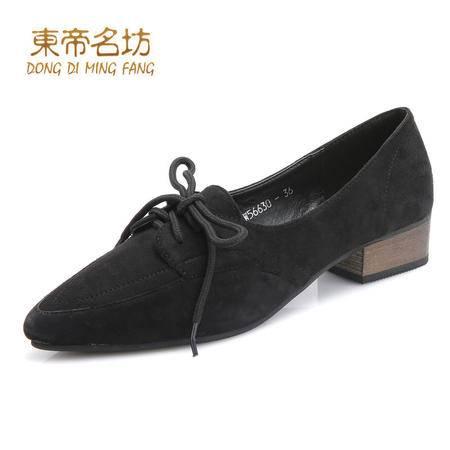 东帝名坊新款时尚尖头系带休闲鞋舒适优雅单鞋