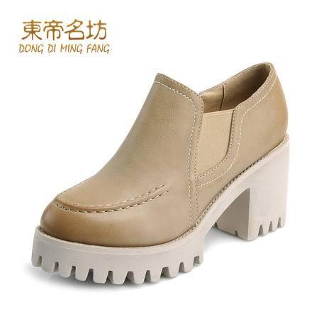东帝名坊新款简约时尚圆头侧拉链休闲粗方跟鞋