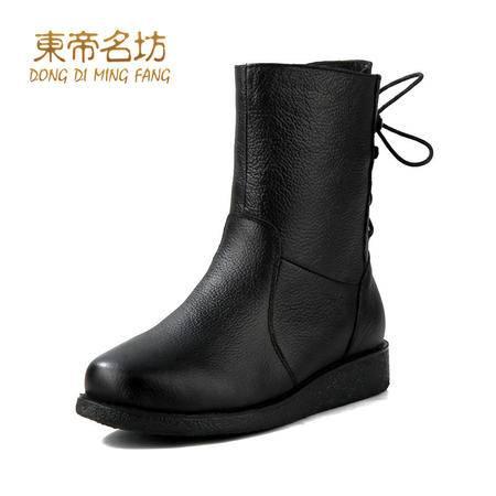 东帝名坊秋冬款头层牛皮女靴女鞋中筒靴 欧美时尚马丁靴子32700