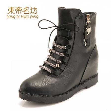 东帝名坊潮女英伦粗跟短筒靴休闲女靴子42156