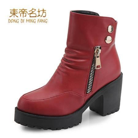东帝名坊圆头金属扣英伦风防水台舒适方跟粗跟时装靴52001