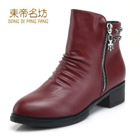 东帝名坊时尚圆头休闲短靴显瘦拉链柳钉舒适低粗跟女靴52027