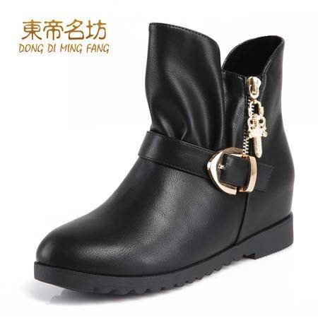 东帝名坊皮带扣短靴女 皮靴粗跟靴内增高平跟靴子潮52009