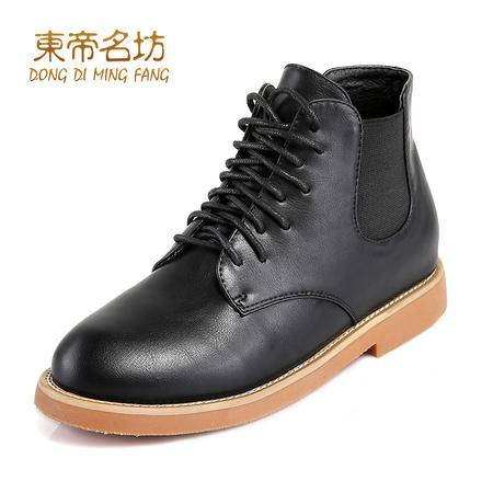 东帝名坊圆头系带复古英伦风马丁靴低跟舒适方跟女靴52019