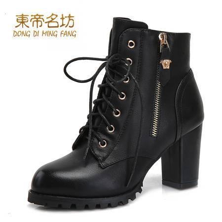 东帝名坊圆头系带时尚潮牌女靴舒适粗跟高跟侧拉链时装靴52002