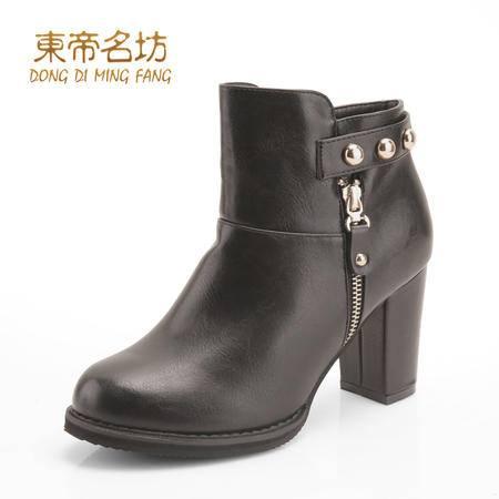 东帝名坊圆头舒适保暖休闲女靴防水台高粗跟金属装饰侧拉链时装靴