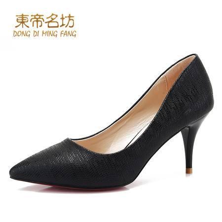 东帝名坊2016春季新款单鞋女浅口单鞋时尚细跟尖头女夜店高跟鞋
