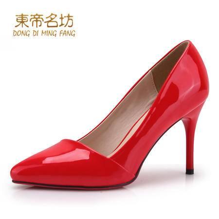 东帝名坊2016春季新款尖头女单鞋超高跟鞋细跟上班鞋职业四季女鞋