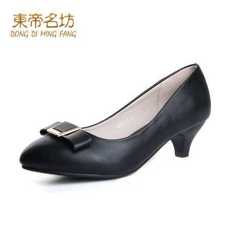 东帝名坊2016春季新款中跟尖头蝴蝶结黑色通勤工作鞋女浅口单鞋女