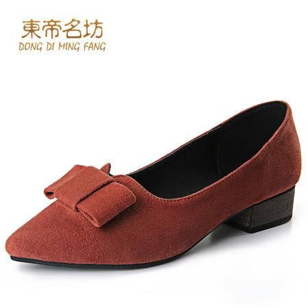 东帝名坊2016春季新款甜美女鞋低跟尖头蝴蝶结女单鞋新娘结婚鞋