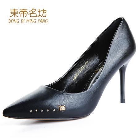 东帝名坊2016春季新款细跟单鞋女浅口职业工作鞋女黑色尖头高跟鞋