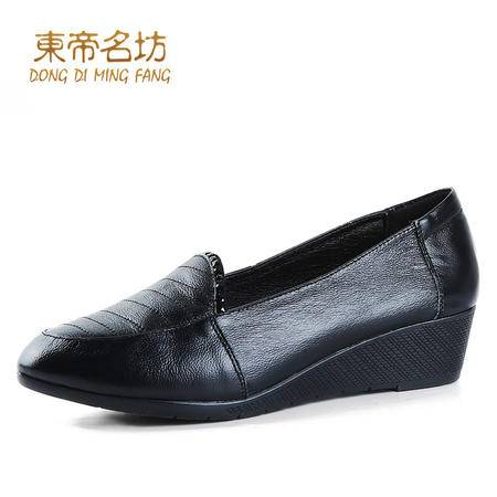头层牛皮大码妈妈鞋坡跟舒适休闲鞋套脚单鞋