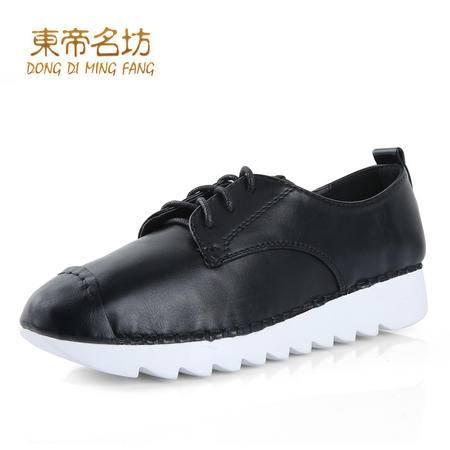 时尚松糕鞋系带厚底乐福鞋女圆头运动休闲鞋