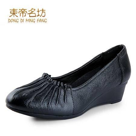 春季新品圆头真皮舒适妈妈鞋女头层牛皮舒适中跟单鞋