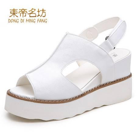 东帝名坊夏季时尚新款凉鞋 学院风厚底休闲鱼嘴高跟松糕底凉鞋女
