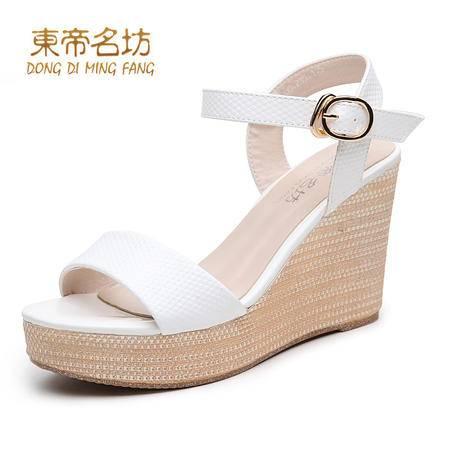 东帝名坊坡跟凉鞋女夏2016新款露趾高跟凉鞋一字扣黑色防水台女鞋