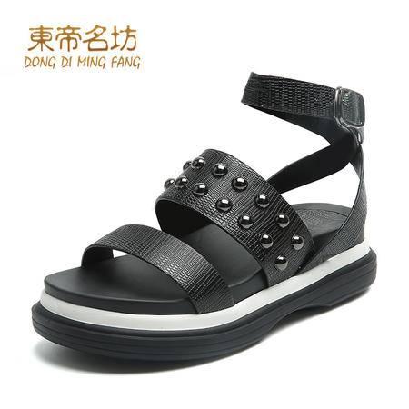 东帝名坊2016夏季新款露趾厚底松糕鞋后跟交叉搭扣女凉鞋