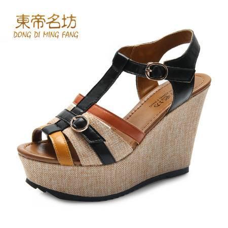 东帝名坊时尚复古跛跟鞋 鱼嘴丁字扣女凉鞋