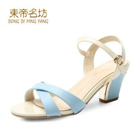 东帝名坊2016新款夏季粗跟凉鞋 细带交叉搭扣鱼嘴一字扣女凉鞋