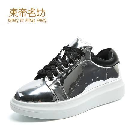 东帝名坊2016春夏新款休闲鞋  时尚系带舒适厚底松糕鞋透气女鞋