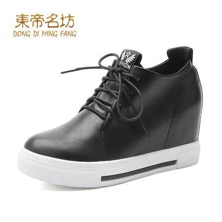 东帝名坊2016休闲系带时尚厚底内增高潮流女单鞋