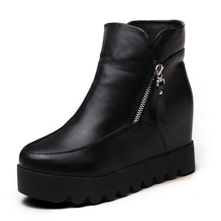 东帝名坊2016秋冬新款单靴 时尚防水台平底短靴内增高高跟女鞋