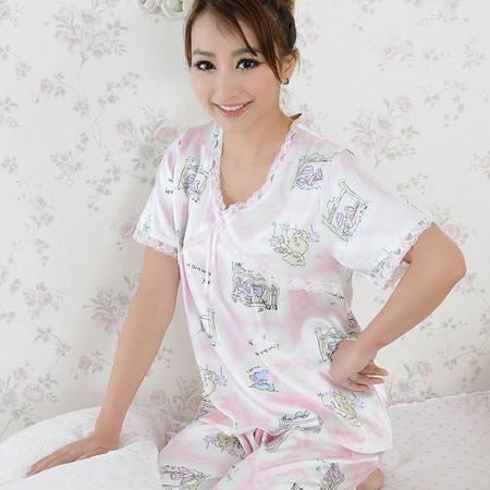 金丰田睡衣女士夏季短袖仿真丝性感可爱睡衣套装 1374