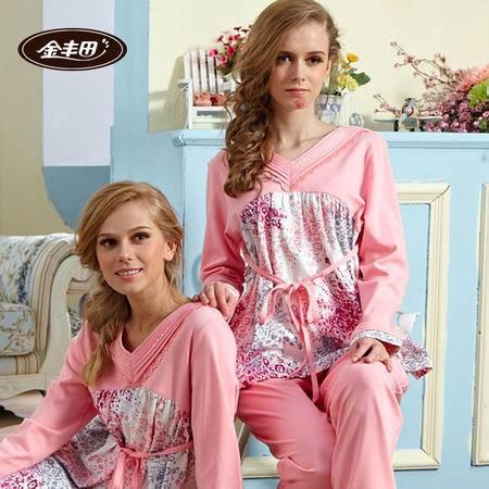 金丰田春秋长袖女士卡通圆点睡衣家居服套装
