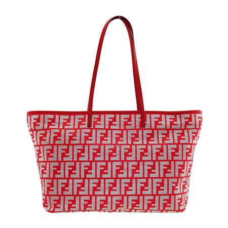 芬迪FENDI红色帆布购物袋拼皮 8BH185
