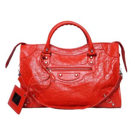 BALENCIAGA巴黎世家女式新款桃红色羊皮手提单肩机车包281770 D94JN(三色可选)
