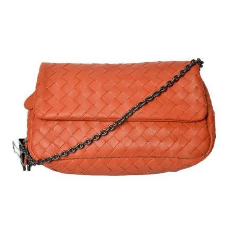 Bottega Veneta宝缇嘉女式经典橙色羊皮链条单肩包手包310774 V0016 7577
