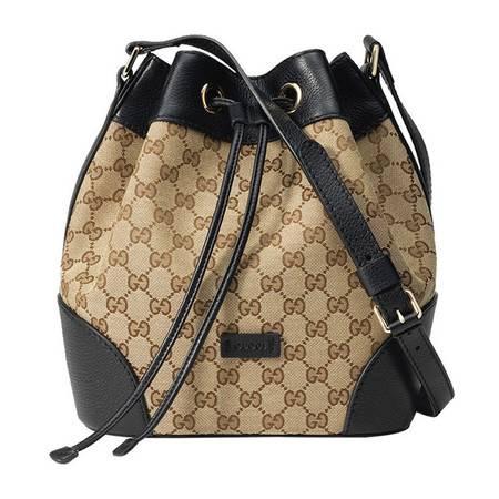 GUCCI古驰女式经典双G印花织物配黑色皮水桶包388703 KQW1G 9769
