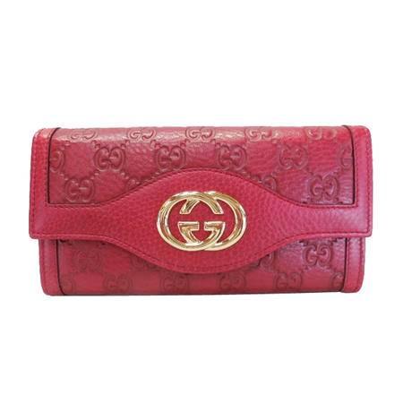 GUCCI古驰女式枣红色真皮经典品牌LOGO长款钱夹282434 A261G 6236