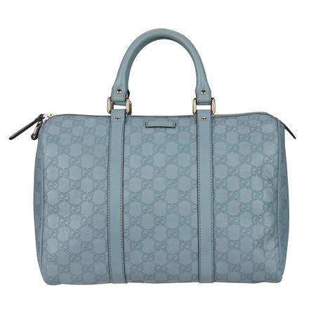 GUCCI古驰女式淡蓝色牛皮经典LOGO印花波士顿桶包265697