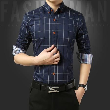维杰斯  2016秋装新款男装衬衫 男士商务休闲修身长袖纯棉衬衫衬衣 男士简约格子衬衫