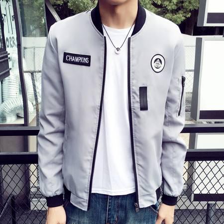 维杰斯 2016秋装新款薄夹克男 日系韩版时尚休闲薄夹克衫外套 男士棒球领夹克衫 男外衣