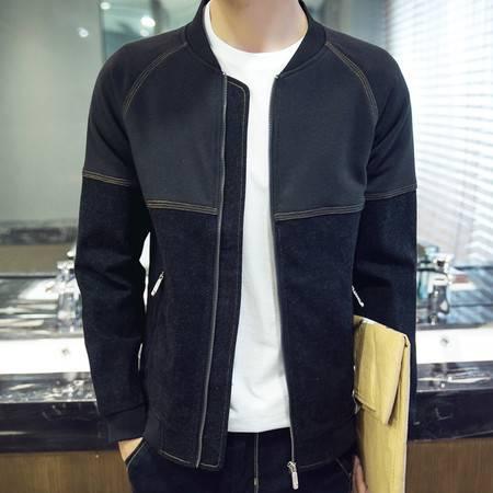 维杰斯 2016秋冬新款男装 潮男日系韩版修身牛仔拼色棒球领夹克外套 男士短款夹克衫