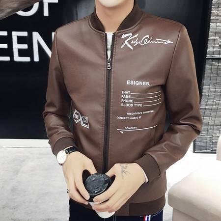 维杰斯 2016秋装新款男装 酷 韩版修身日系机车皮衣 时尚百搭英文字母装饰 皮夹克