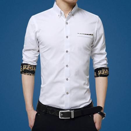 维杰斯 衬衫男  2016秋装新款男装长袖衬衫 男士英伦商务休闲时尚修身衬衫 男长袖衬衣