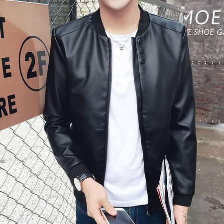 维杰斯 2016秋装新款男装 日系韩版机车休闲皮衣 时尚修身百搭 男棒球领皮夹克外套 潮