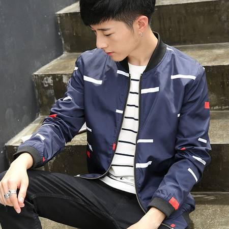 维杰斯  2016秋装新款夹克外套 男士棒球领韩版时尚休闲修身印花薄夹克外套 潮男百搭男外套
