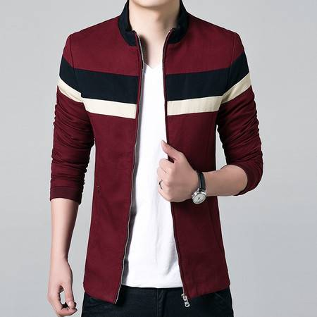 维杰斯 2016秋款男装新款夹克外套 男士修身立领日系韩版都市时尚休闲拼接夹克男外套