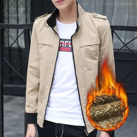 维杰斯 2016秋冬装新款男装  都市休闲夹克加绒加厚保暖水洗棉短款夹克外套 男夹克