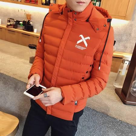 维杰斯 2016冬装新款男装 韩版时尚都市休闲可脱卸帽加厚保暖棉服外套 男加绒棉衣外套