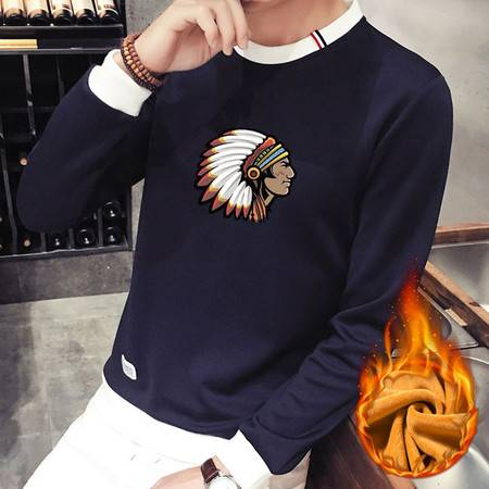 维杰斯 2016冬装新款 男士青年时尚休闲韩版玛雅人印花图案加绒圆领套头卫衣 男加绒卫衣