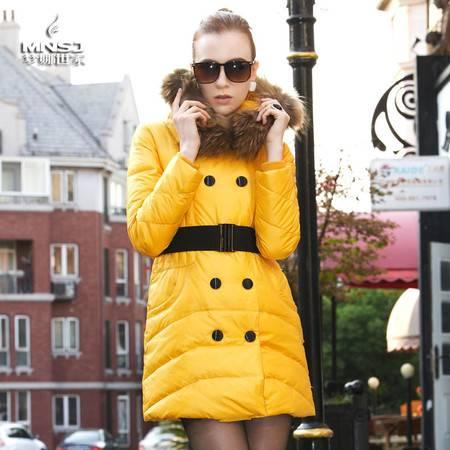 梦娜世家新款女士中长款韩版修身大毛领羽绒服2886