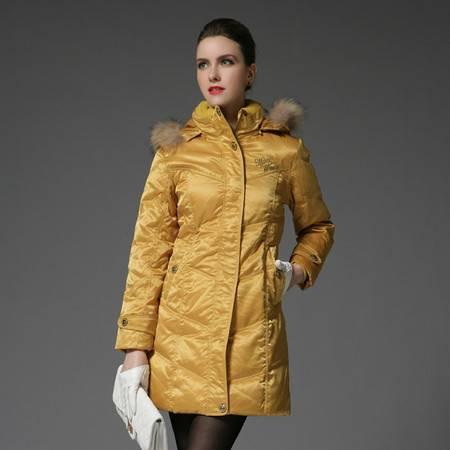 梦娜世家女中长款带毛领 修身韩版保暖羽绒服990