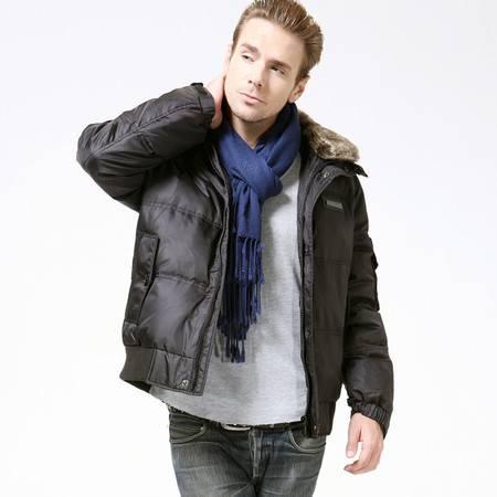 梦娜世家新款男士加厚带毛领韩版短款羽绒服1113