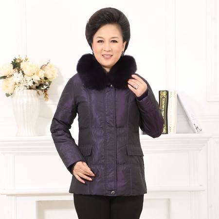 梦娜世家妈妈款韩版时尚中长款毛领羽绒服1036